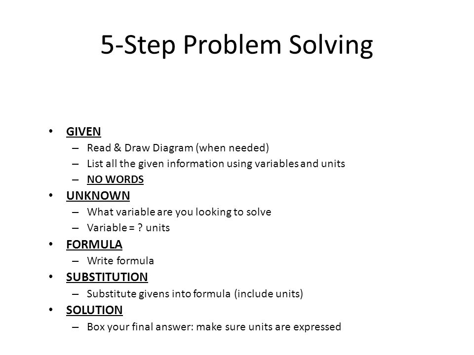 5-Step Problem Solving GIVEN UNKNOWN FORMULA SUBSTITUTION SOLUTION