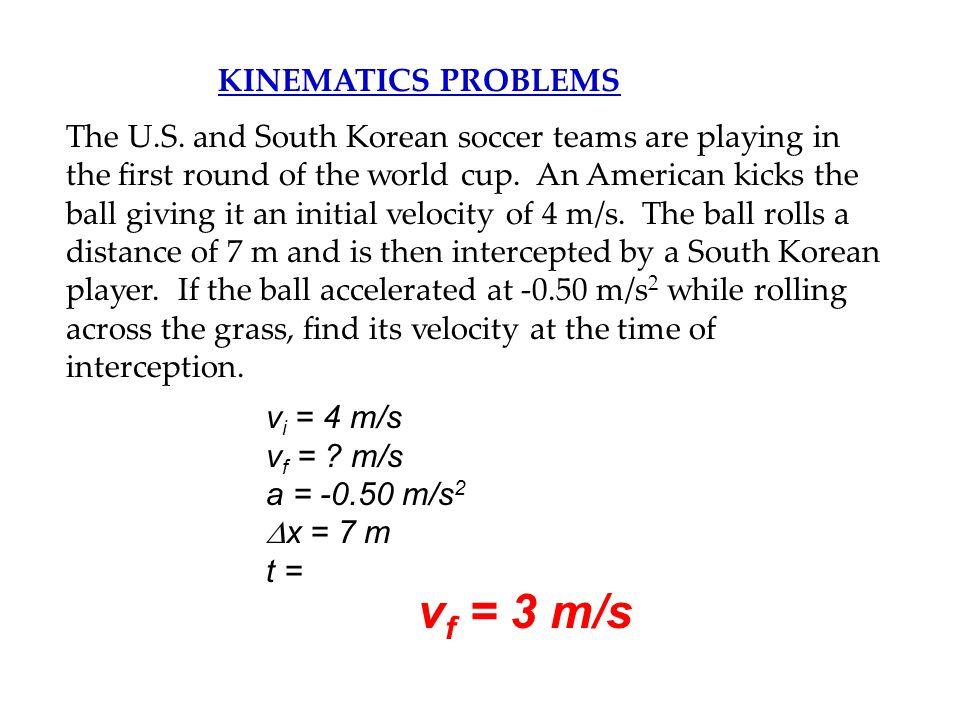 vf = 3 m/s KINEMATICS PROBLEMS