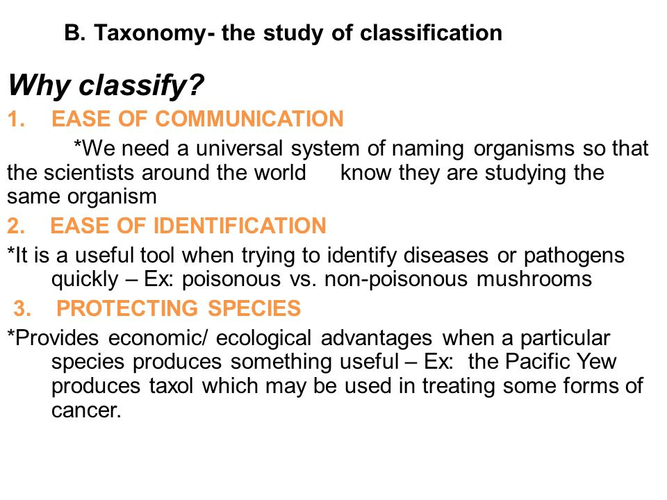 B. Taxonomy- the study of classification