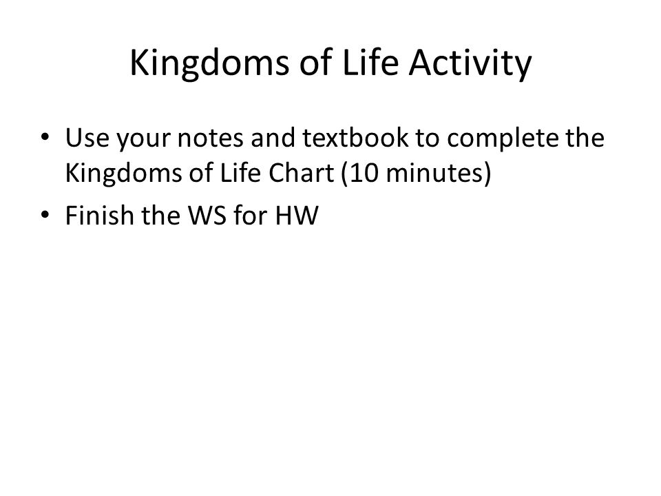 Kingdoms of Life Activity