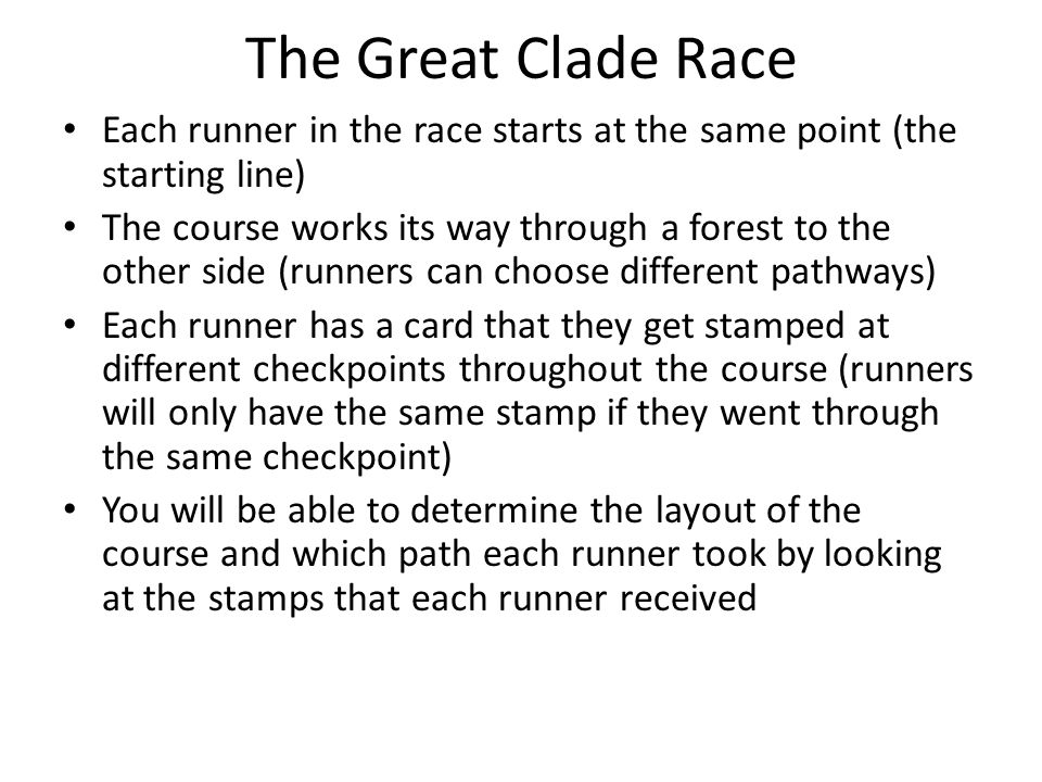 The Great Clade Race Each runner in the race starts at the same point (the starting line)