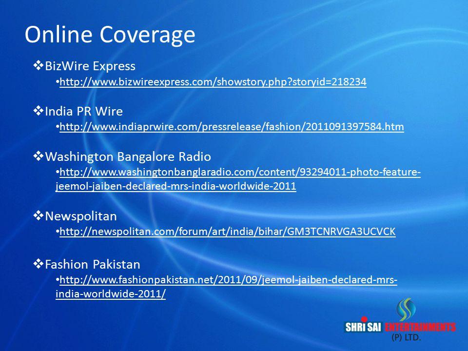 Online Coverage BizWire Express India PR Wire