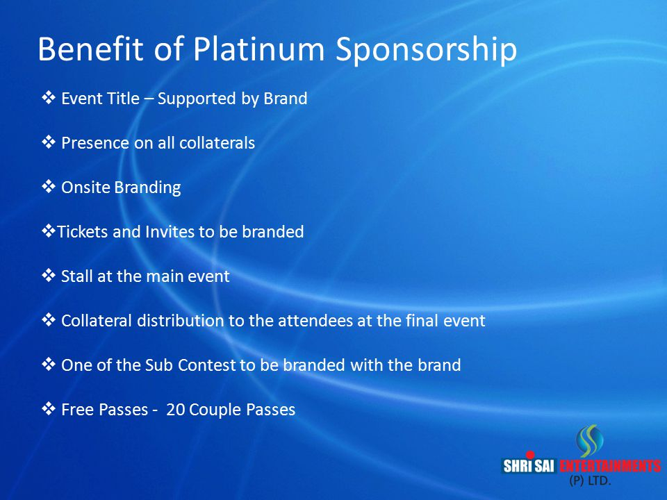 Benefit of Platinum Sponsorship