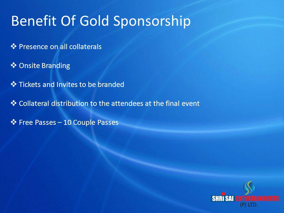 Benefit Of Gold Sponsorship