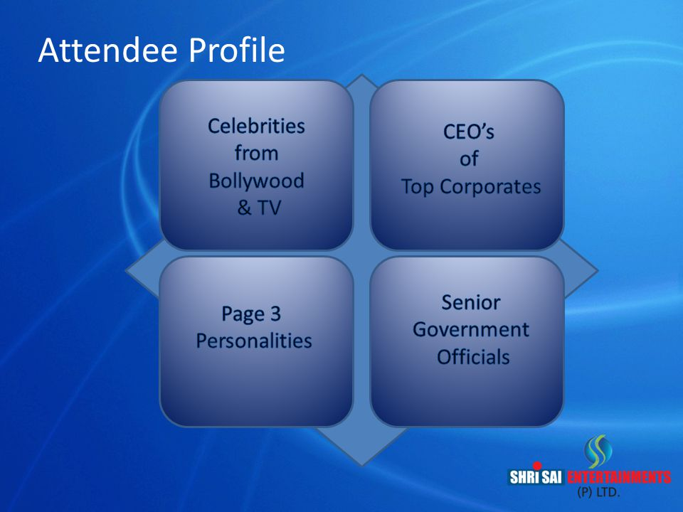 Attendee Profile Celebrities CEO's from of Bollywood Top Corporates