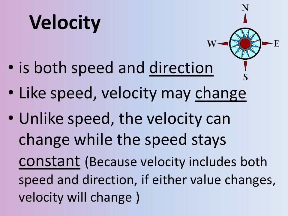 Velocity is both speed and direction Like speed, velocity may change