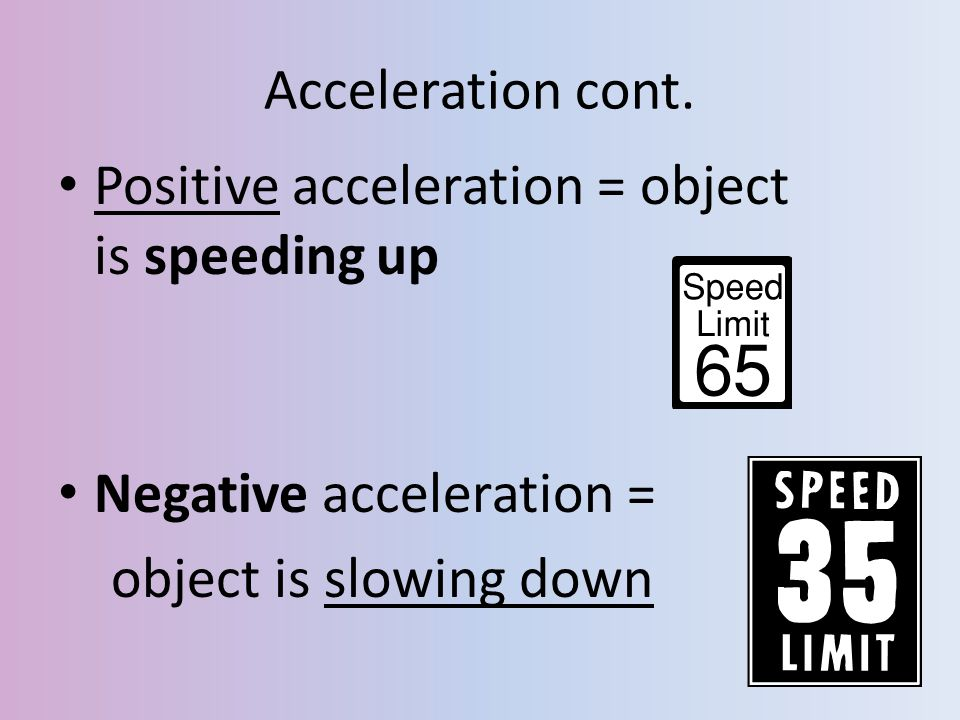 Acceleration cont. Positive acceleration = object is speeding up.