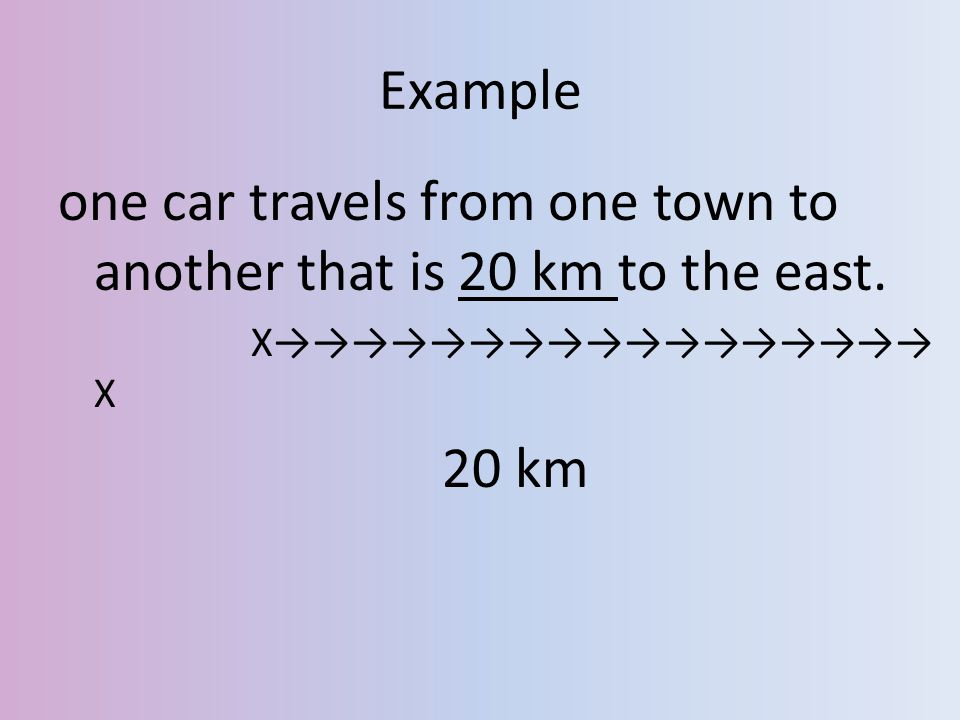 one car travels from one town to another that is 20 km to the east.