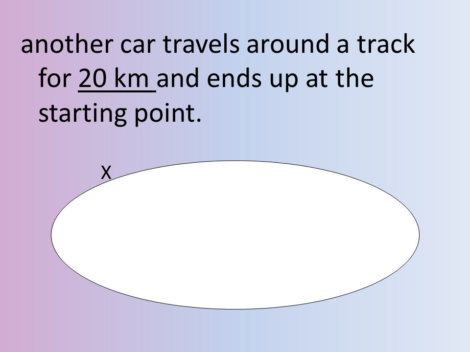 another car travels around a track for 20 km and ends up at the starting point.