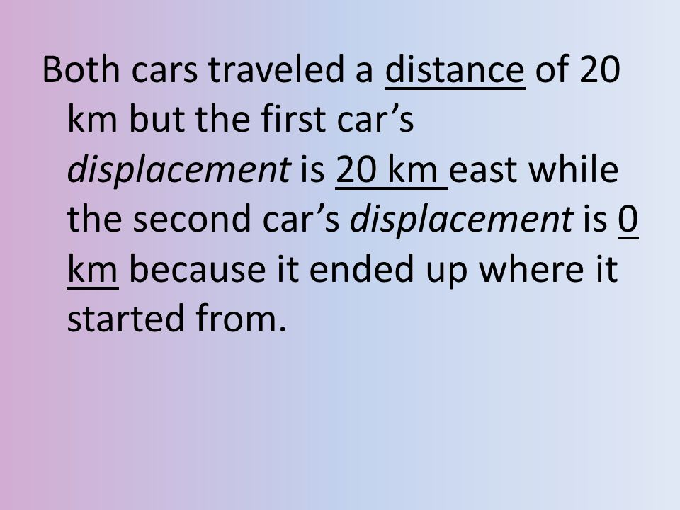 Both cars traveled a distance of 20 km but the first car's displacement is 20 km east while the second car's displacement is 0 km because it ended up where it started from.