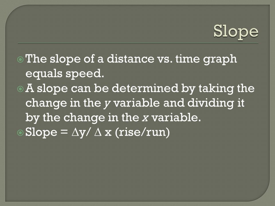 Slope The slope of a distance vs. time graph equals speed.