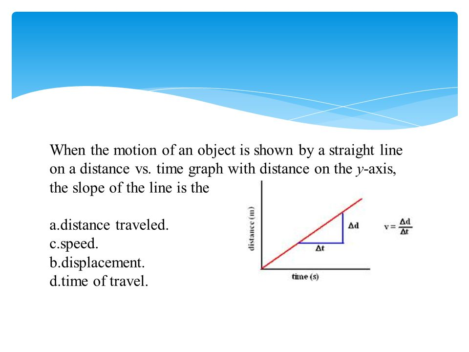 When the motion of an object is shown by a straight line on a distance vs. time graph with distance on the y-axis, the slope of the line is the