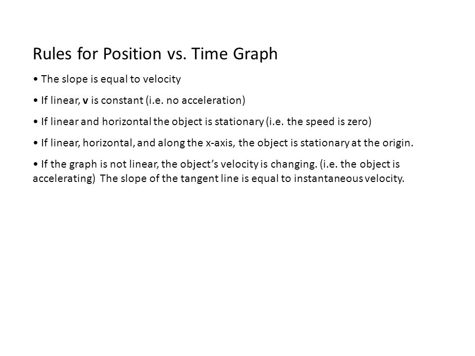 Rules for Position vs. Time Graph