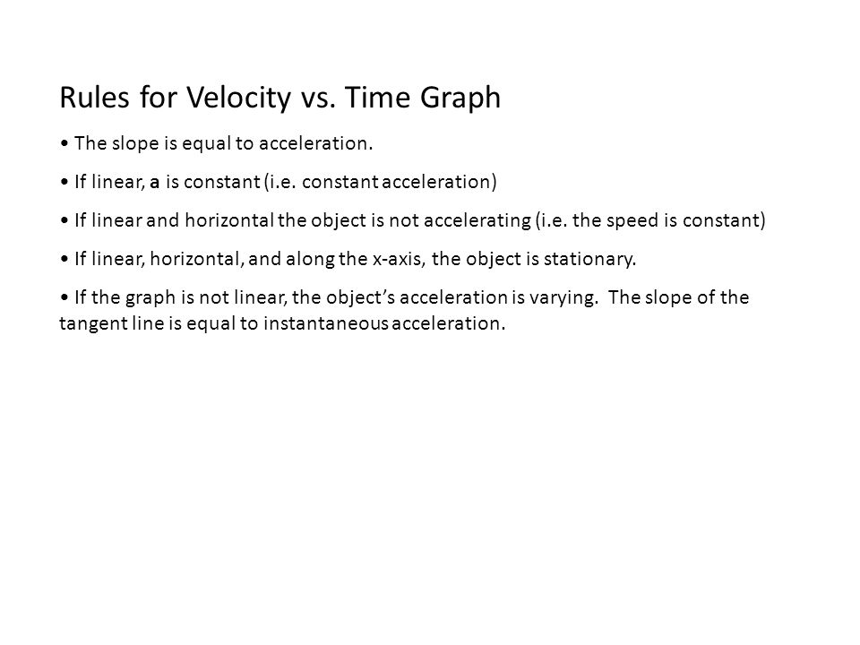 Rules for Velocity vs. Time Graph