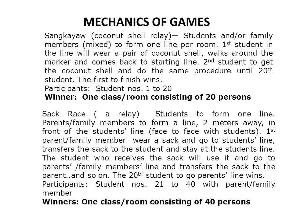 MECHANICS OF GAMES
