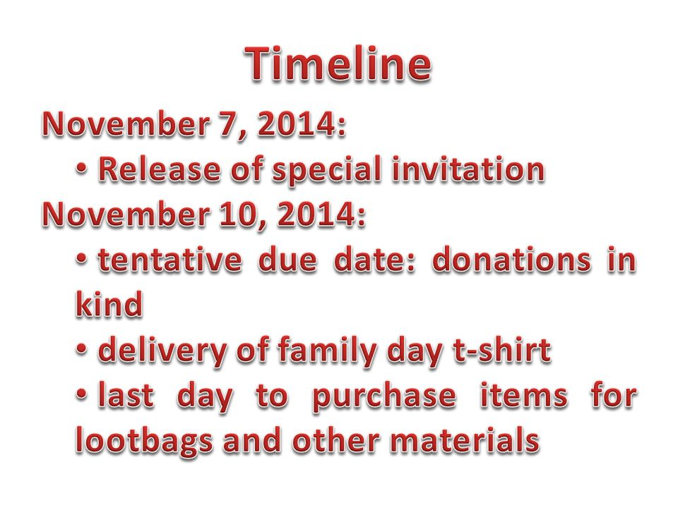 Timeline November 7, 2014: Release of special invitation