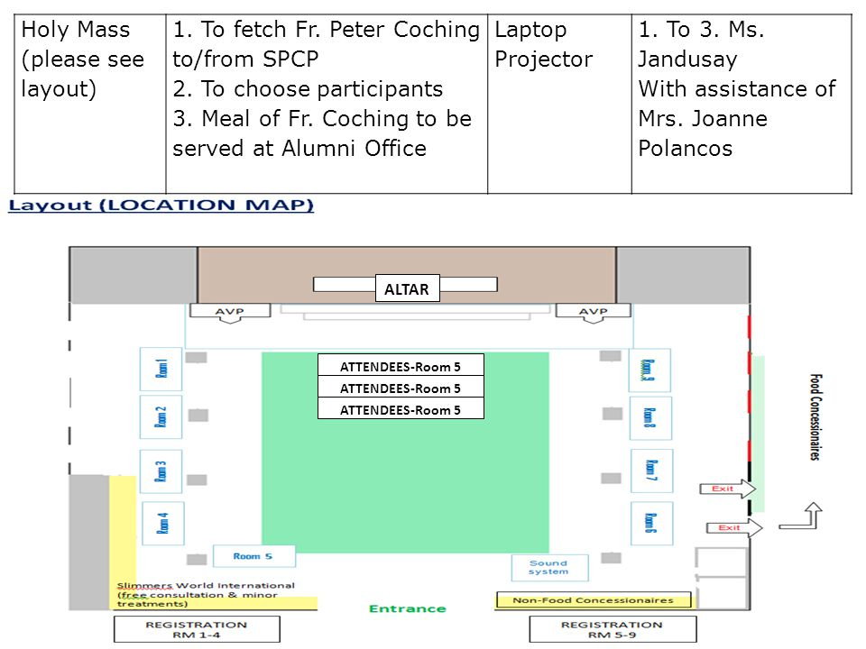 Holy Mass (please see layout)