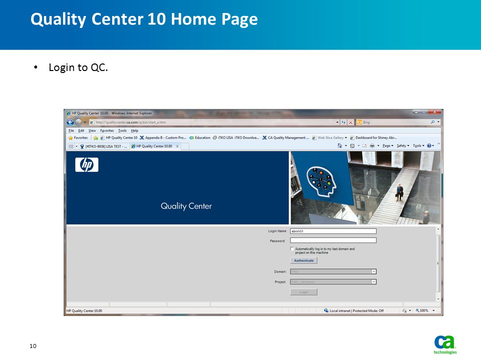Quality Center 10 Home Page