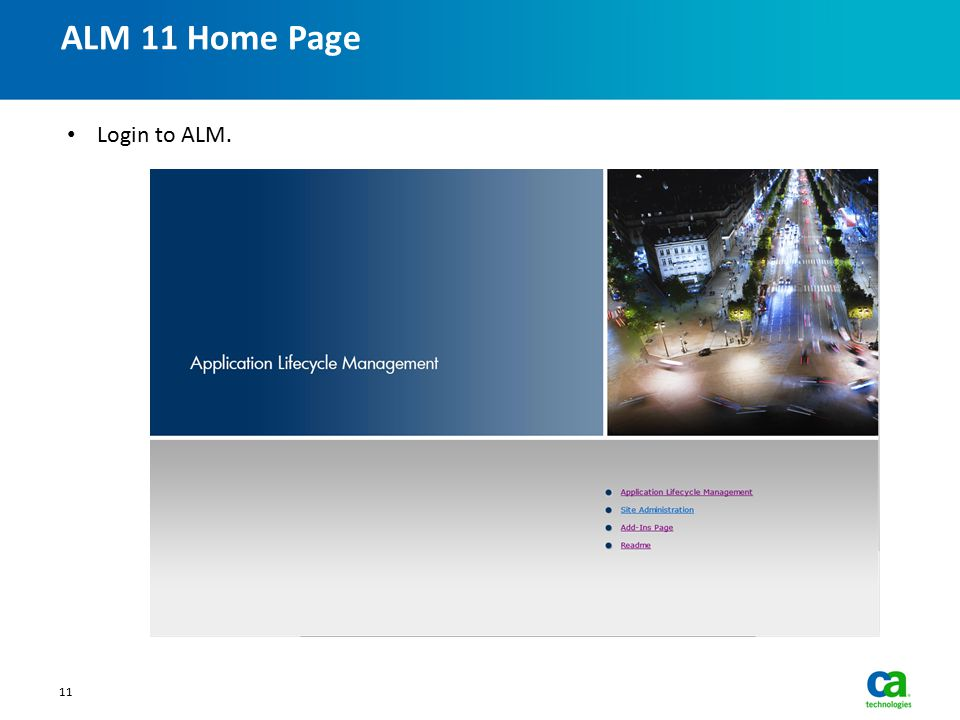 ALM 11 Home Page Login to ALM.