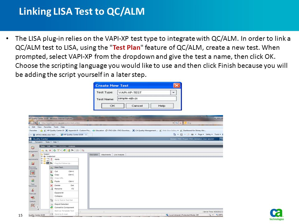 Linking LISA Test to QC/ALM