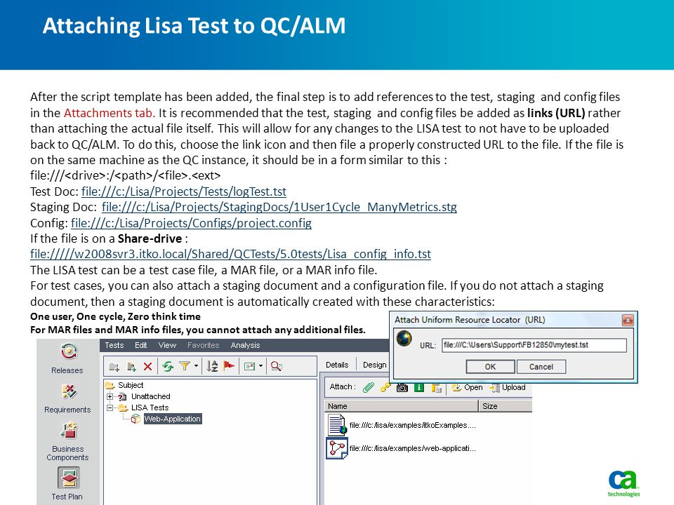 Attaching Lisa Test to QC/ALM