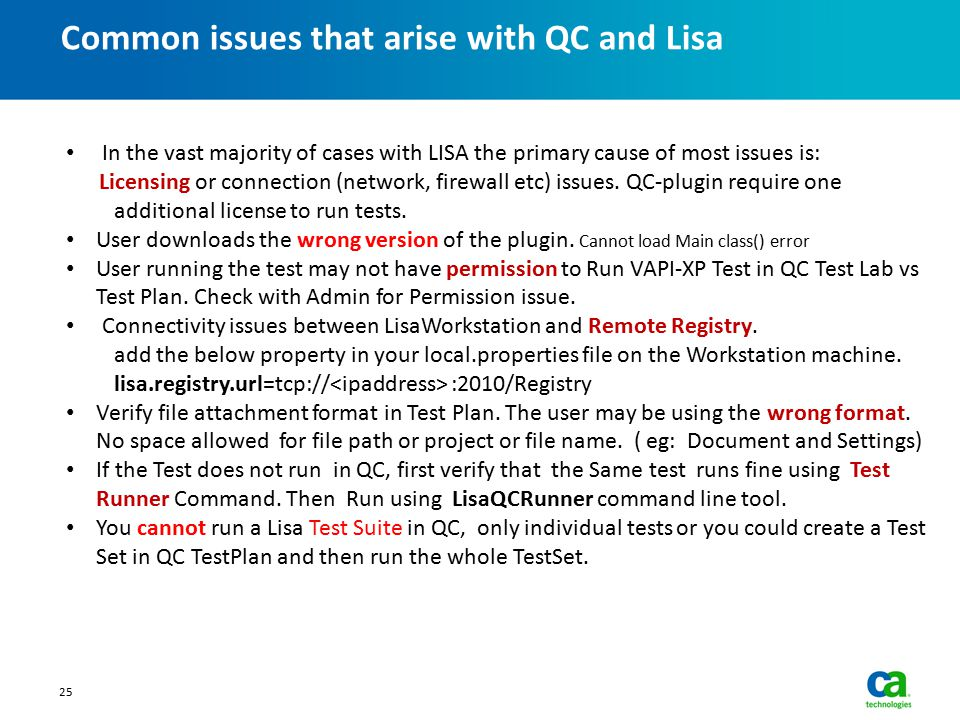Common issues that arise with QC and Lisa