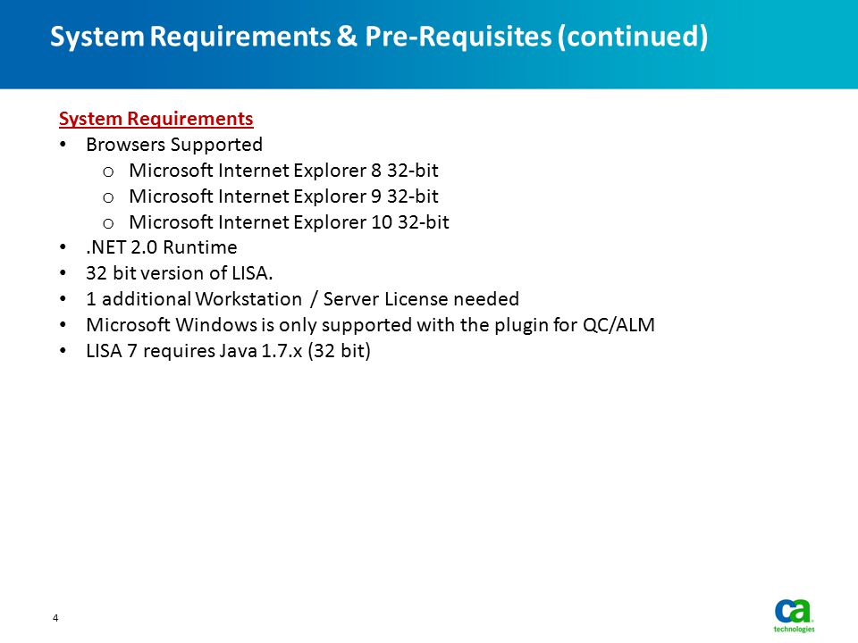 System Requirements & Pre-Requisites (continued)