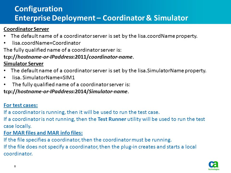 Configuration Enterprise Deployment – Coordinator & Simulator