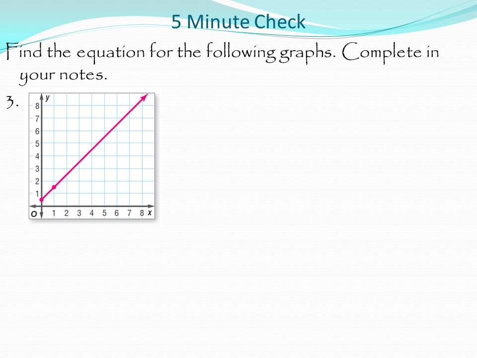 5 Minute Check Find the equation for the following graphs. Complete in your notes. 3.