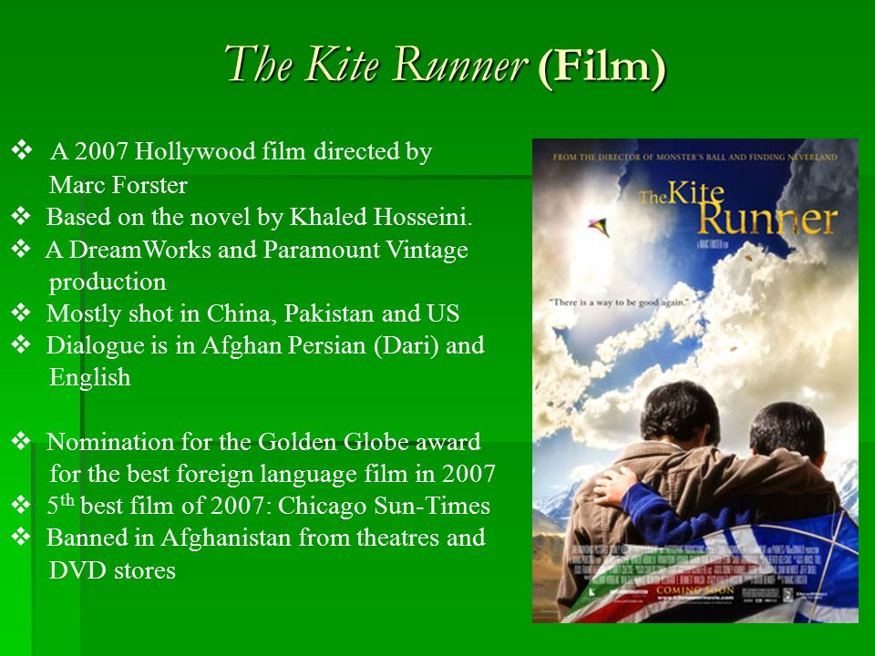 The Kite Runner (Film) A 2007 Hollywood film directed by .