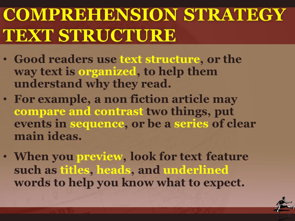 Comprehension strategy Text Structure