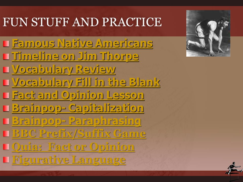 Fun Stuff and Practice Famous Native Americans Timeline on Jim Thorpe