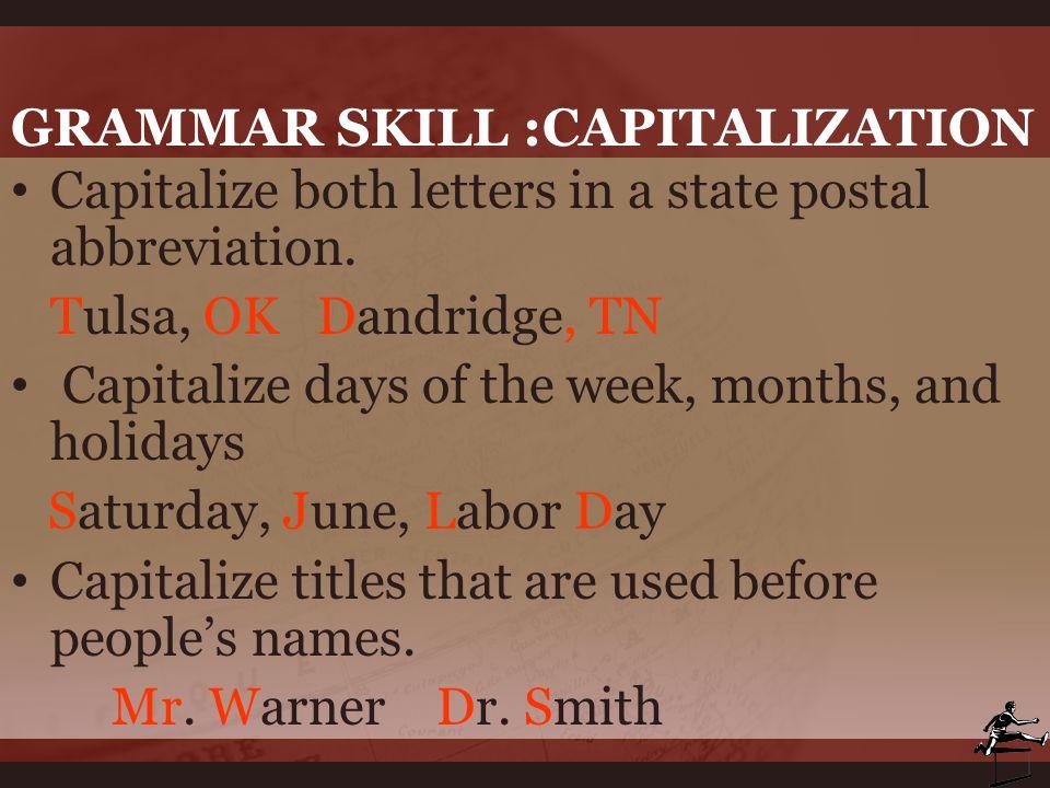 Grammar Skill :capitalization
