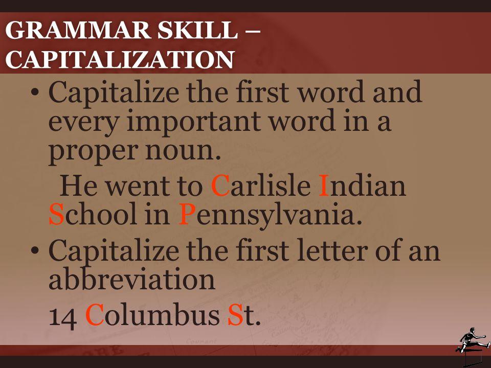 Grammar Skill – Capitalization