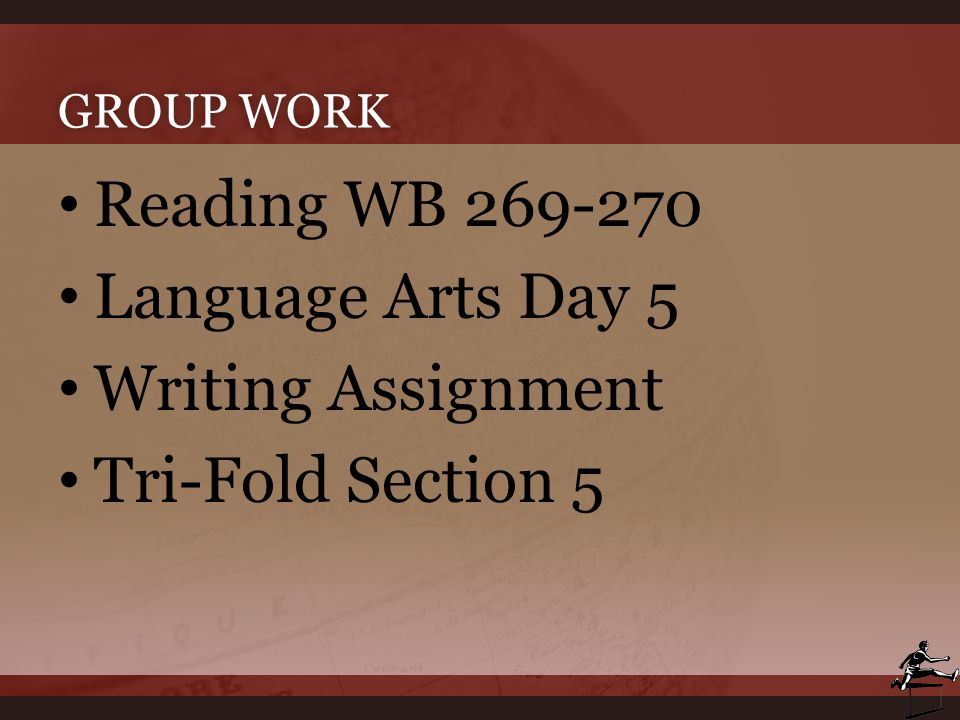 Reading WB 269-270 Language Arts Day 5 Writing Assignment