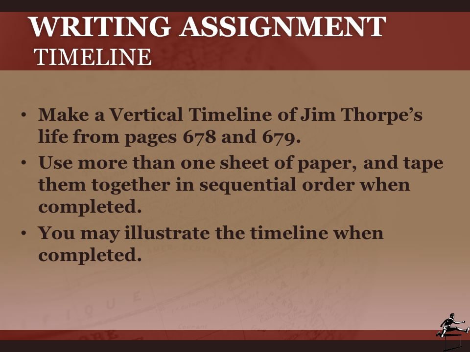 Writing Assignment Timeline