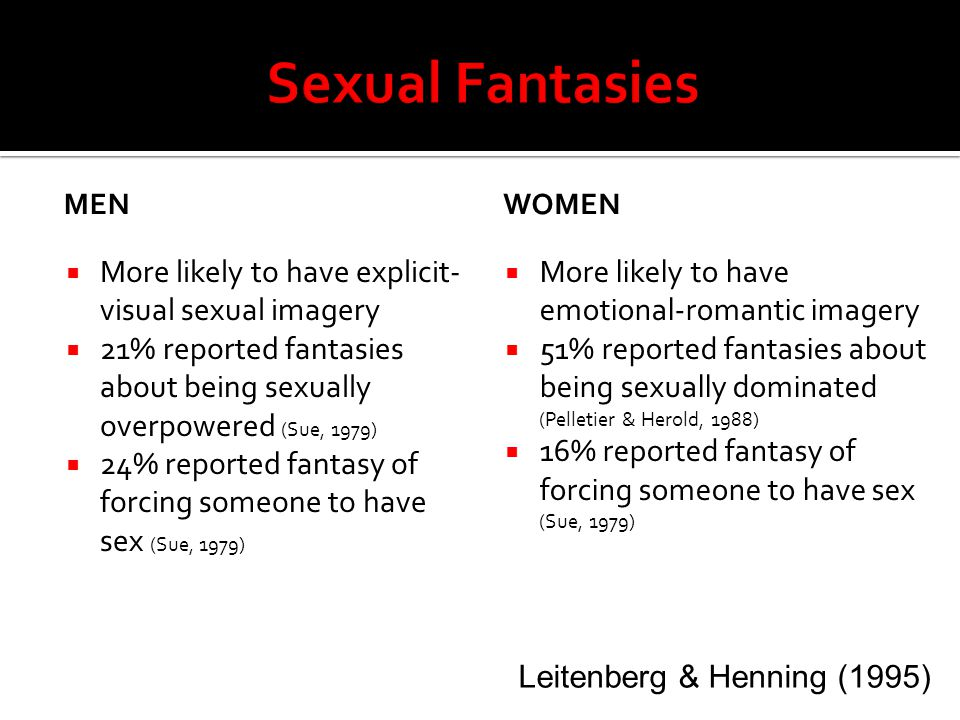 Sexual Fantasies More likely to have explicit-visual sexual imagery