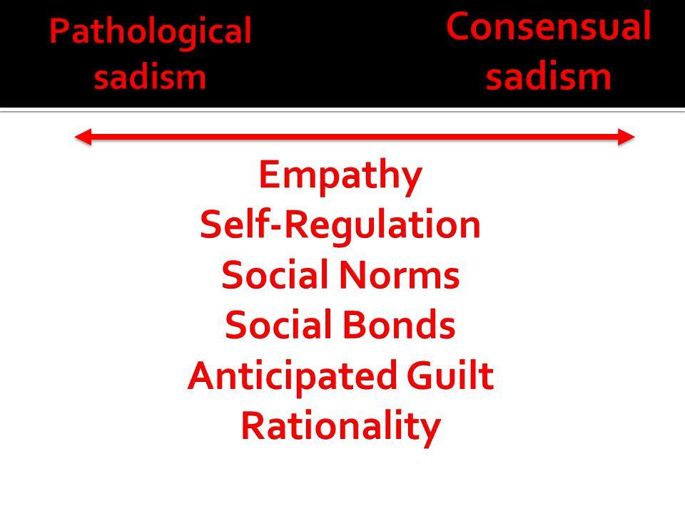Consensual sadism Empathy Self-Regulation Social Norms Social Bonds