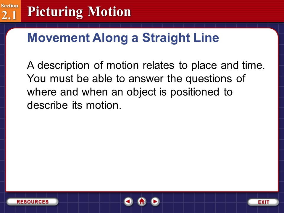 Movement Along a Straight Line
