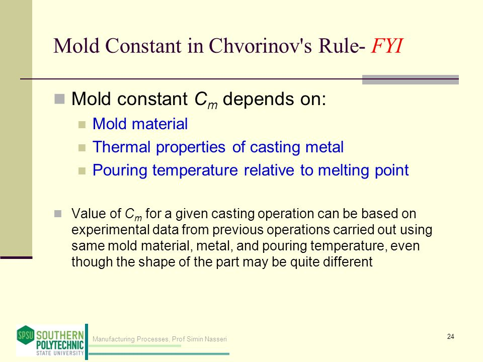 Mold Constant in Chvorinov s Rule- FYI