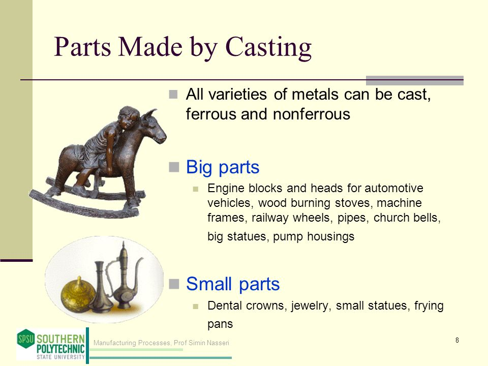 Parts Made by Casting Big parts Small parts
