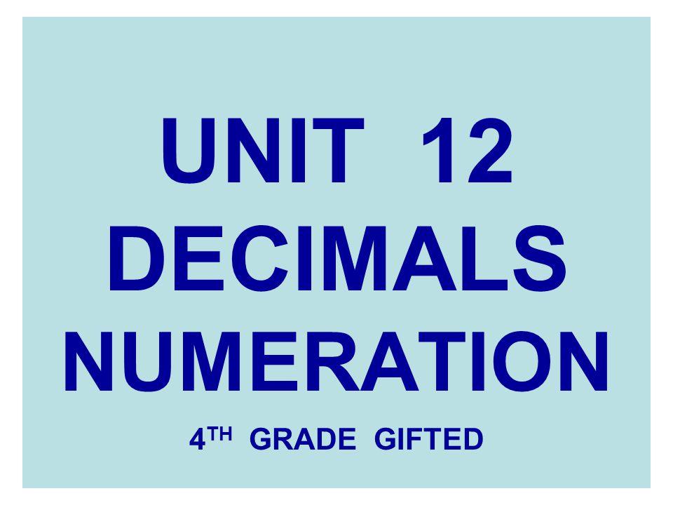 UNIT 12 DECIMALS NUMERATION