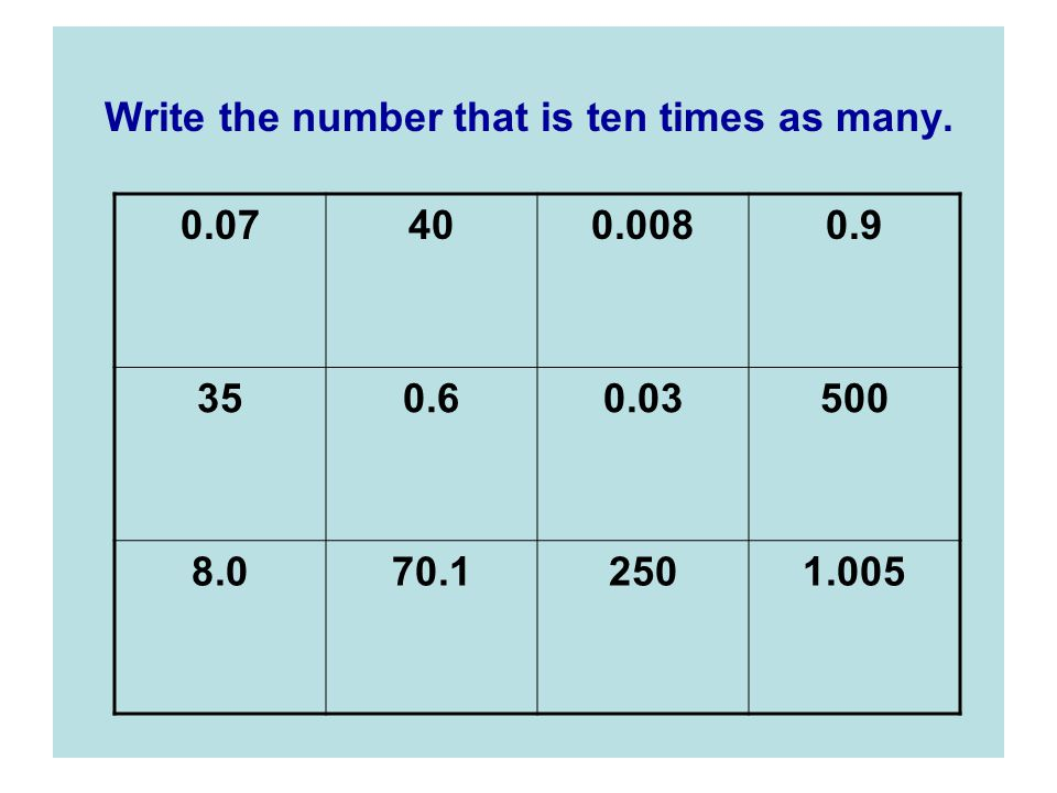 Write the number that is ten times as many.