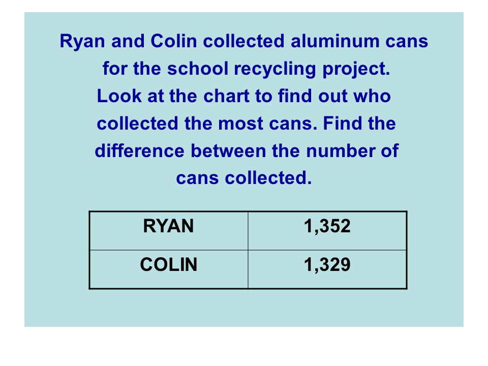 Ryan and Colin collected aluminum cans