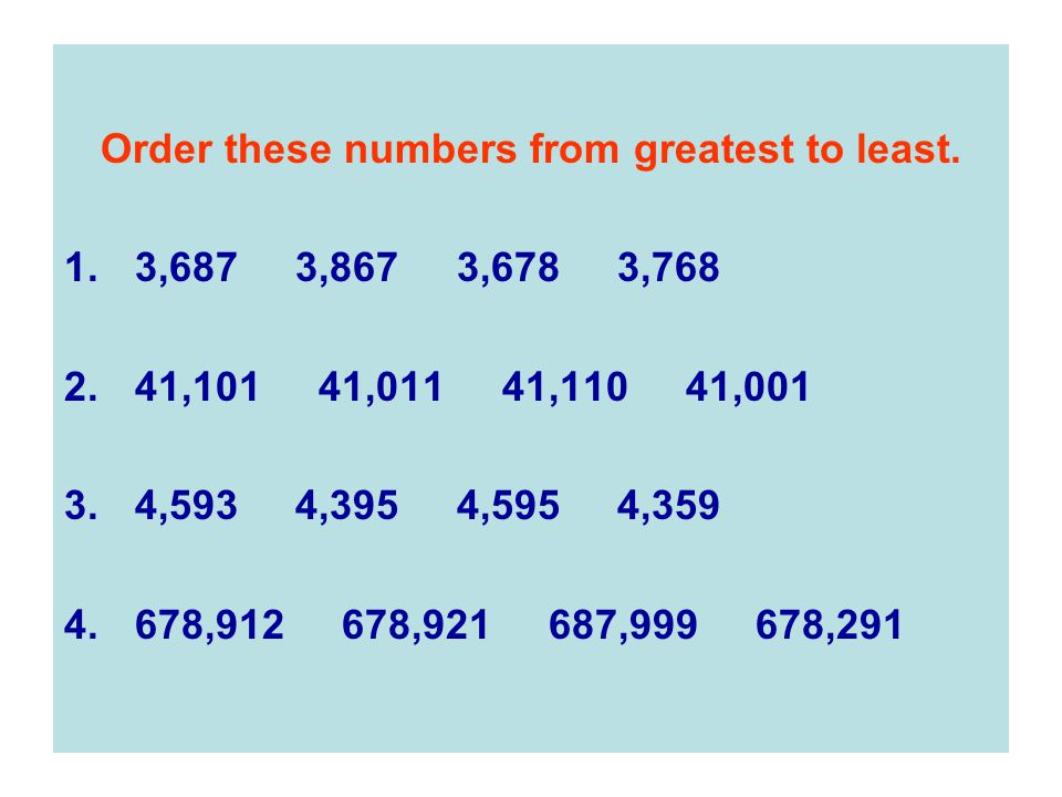 Order these numbers from greatest to least.