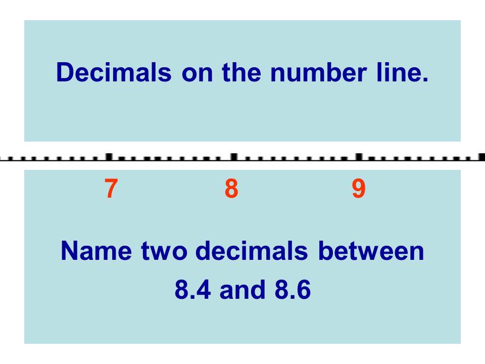 Decimals on the number line. Name two decimals between