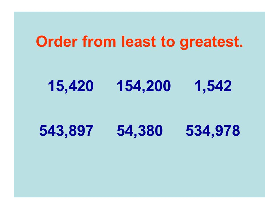 Order from least to greatest.