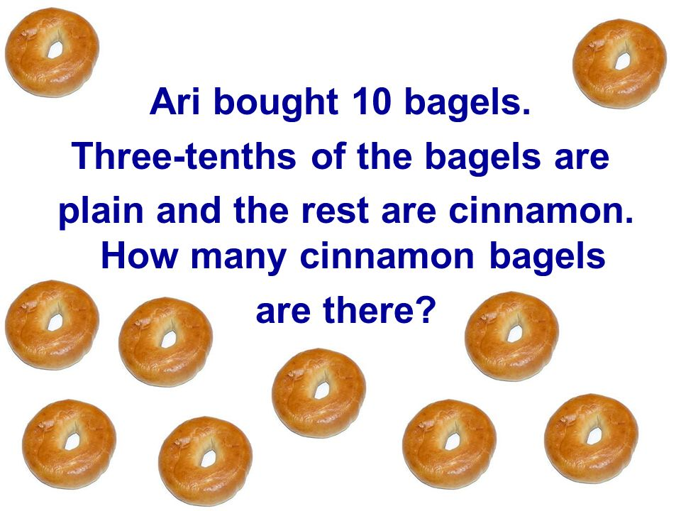 Three-tenths of the bagels are