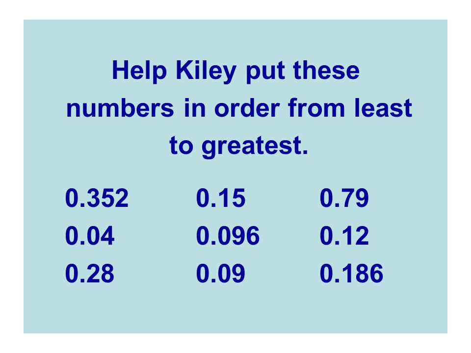 numbers in order from least