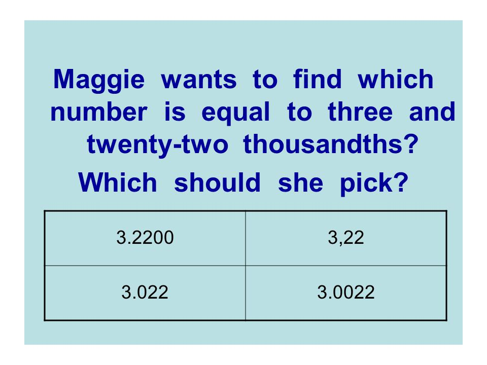 Maggie wants to find which number is equal to three and twenty-two thousandths